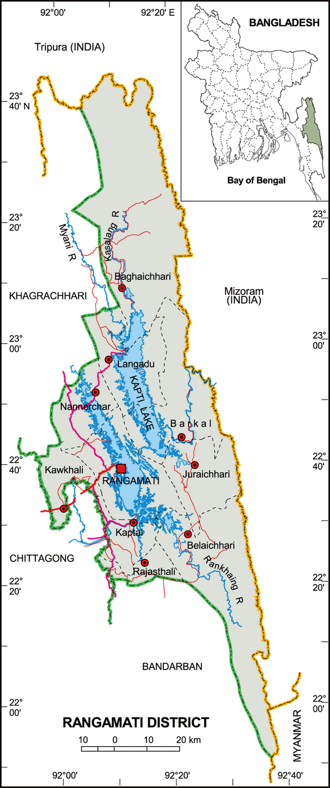 Rangamati District of Bangladesh Map